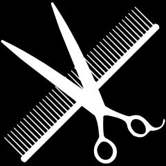 White Scissors and Comb Sticker - Sticker for Advertising and Decorating Your Dog Salon