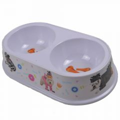 Double pet bowl 2 x 200 ml with dogs in Partyoutfit