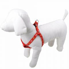 Mini dog harness red with feet
