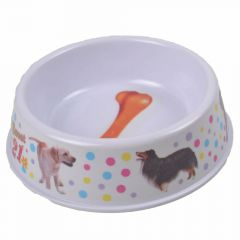 Feeding bowl 400 ml pink with polka dots