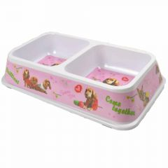 Double pet bowl pink