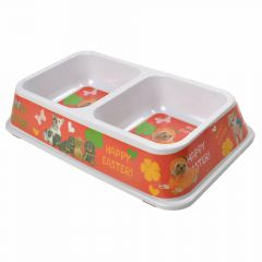 Double pet bowl 2 x 450 ml Red