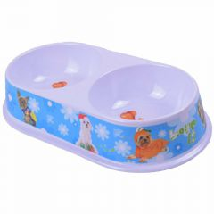 Blue water bowl and food bowl all in 1