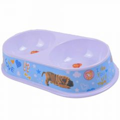 Lightblue double feed bowl and water bowl made of melamine by GogiPet