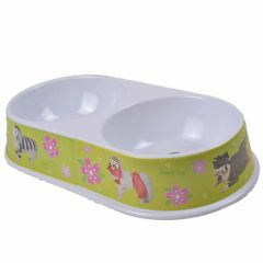 Double pet bowl 2 x 300 ml with Flowers green