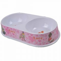 Pink double pet bowl with hearts