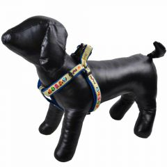 "Dog harness blue - ""Good Morning"" M"