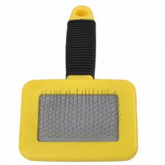 Soft slicker brush for small dogs and cats yellow