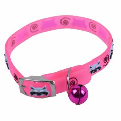 Pink rubber cat collar with bells
