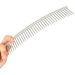 Curved metal dog comb for scissor cutting