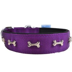 Purple dog collar with small bones and soft lining