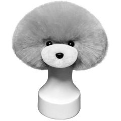 Silver white dog coat as training hairpiece or for dog grooming training