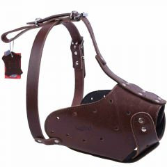 Leather muzzle size L - For long noses by GogiPet ®
