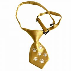 Tie for dogs gold with white paws by GogiPet