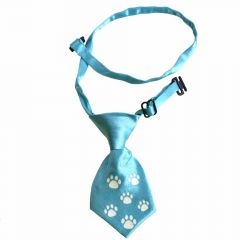 Tie for dogs light blue with white paws by GogiPet