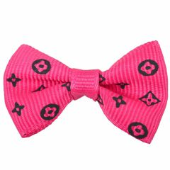 Dog bows with rubber hair darkpink with black motifs by GogiPet