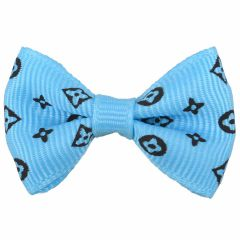 Dog bows with rubber hair lightblue with black motifs by GogiPet