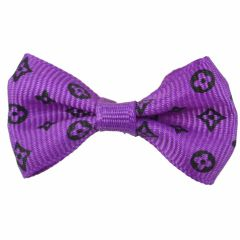Dog bows with rubber hair purple with black motifs by GogiPet