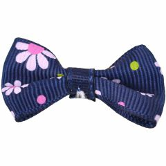 Dog bows with hairband Bernardo dark blue with flowers by GogiPet