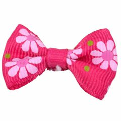 Dog bows with hairband Bernardo dark pink with flowers by GogiPet