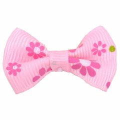 Dog bows with hairband Bernardo light pink with flowers by GogiPet
