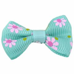 Dog bows with hairband Bernardo turquoise with flowers by GogiPet