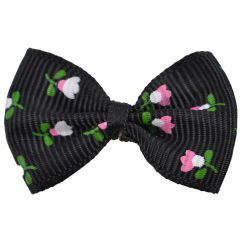 Handmade dog bow black with flowers by GogiPet