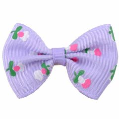 Handmade dog bow purple with flowers by GogiPet