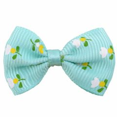 Handmade dog bow turquoise with flowers by GogiPet