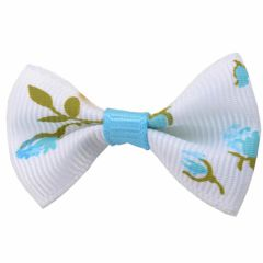 Handmade dog bow white blue with flowers by GogiPet