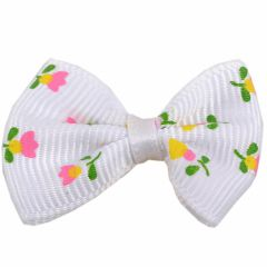 Handmade dog bow white yellow with flowers by GogiPet