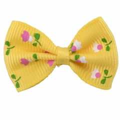 Handmade dog bow yellow with flowers by GogiPet