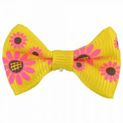 Handmade dog bow yellow with sunflowers by GogiPet