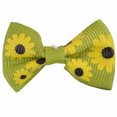 Handmade dog bow purple with sunflowers by GogiPet