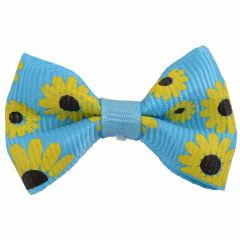 Handmade dog bow light blue with sunflowers by GogiPet