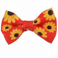 Handmade dog bow red with sunflowers by GogiPet