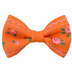 Handmade dog bow orange with roses by GogiPet