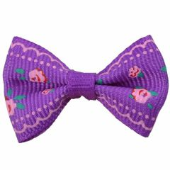 Handmade dog bow purple with roses by GogiPet
