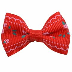 Handmade dog bow red with roses by GogiPet