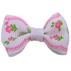 GogiPet dog bow white with roses