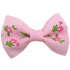 Handmade dog bow soft pink with roses by GogiPet