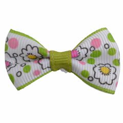 Handmade dog bow green - white with flowers by GogiPet