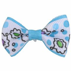 Handmade dog bow light blue- white with flowers by GogiPet