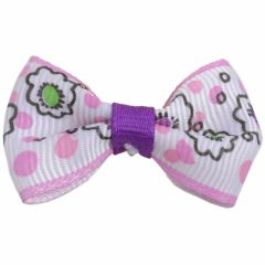 Handmade dog bow rosa - white with flowers by GogiPet