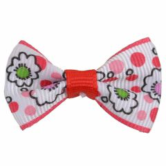 Handmade dog bow red- white with flowers by GogiPet