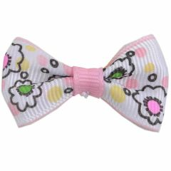 Handmade dog bow soft pink - white with flowers by GogiPet