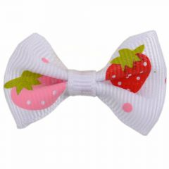 Handmade dog bow white with strawberries by GogiPet