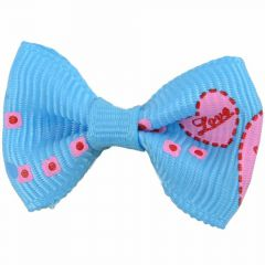 "Handmade dog bow ""Corazón II light blue"" by GogiPet"