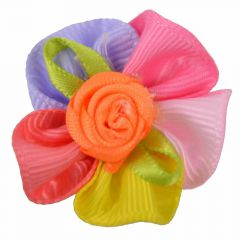 Handmade dog bow mulicolor with little rose by GogiPet