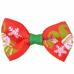 Dog bow for Christmas with snowmen and snowflakes